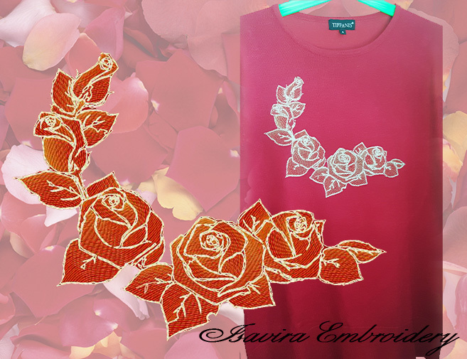 Machine embroidery design 'Gold roses', Vintage, metallic thread, clothes