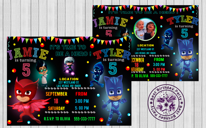 Pj Mask Double Birthday Party Invitation Invite Masks Twins