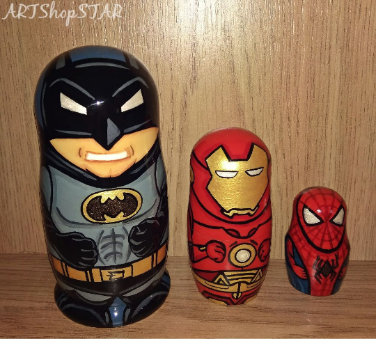 Marvel Super Heroes Nesting dolls Batman Iron Man Spiderman gift for boys Marvel