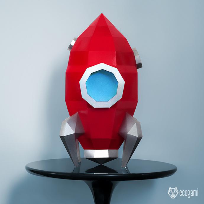 Spaceship papercraft | DIY retro paper sculpture | 3D rocket papercraft |