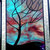 Stained Glass Window Panel  Moonlit Tree stormy night turquoise purple black