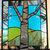 LOVE Stained Glass Window Panel aspen tree love birch tree initials wedding