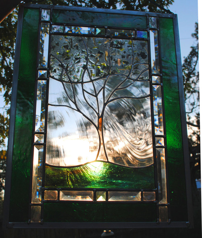 Family Tree Stained Glass Window Panel leaded glass panel