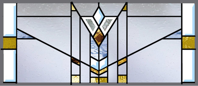 Stained Glass Window Mission Style Prairie Transom