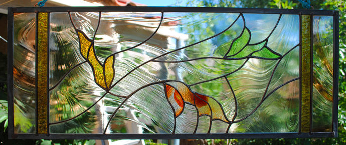 Leaf Stained Glass Window Panel Falling Leaves rust taupe cypress green gold