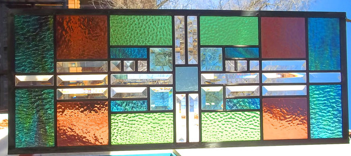 Stained Glass Window Transom/Sidelight Beveled Glass green mauve turquoise READY