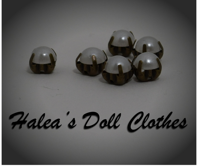 Doll Clothes Buttons Fake Pearl 6mm 6 mm BUT-4