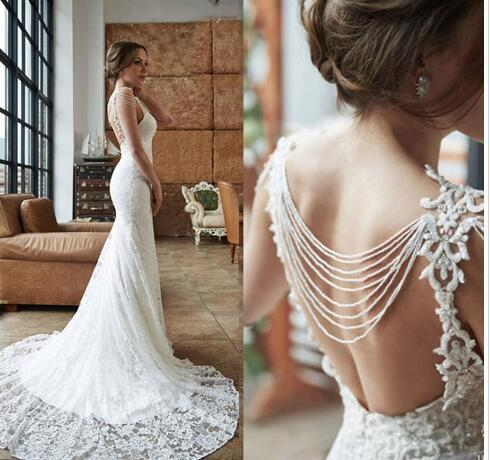 Elegant Mermaid Lace Wedding Dresses Sexy Backless Sheer Neck Sleeveless Beading