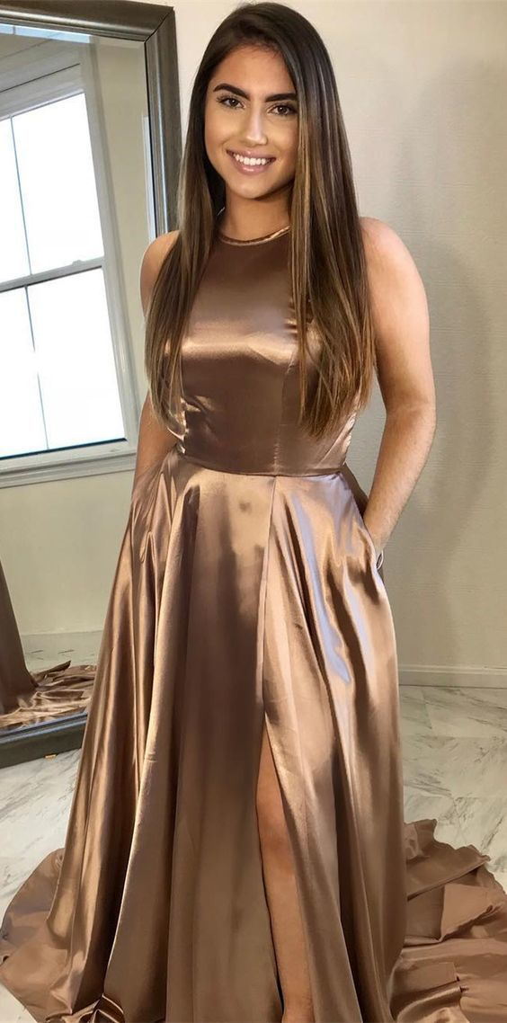 elegant champagne long prom dress with side slit, 2018 prom dress party dress