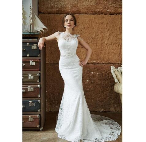 Copy of Elegant Mermaid Lace Wedding Dresses Sexy Backless Sheer Neck Sleeveless