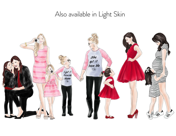 Watercolour fashion illustration clipart - Mother & Daughter - Dark Skin
