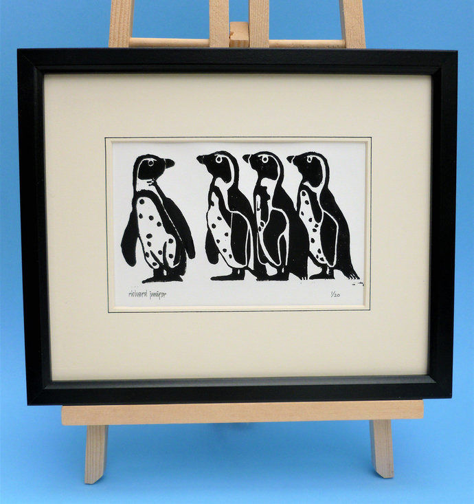 Penguins. Nature inspired limited edition linocut print