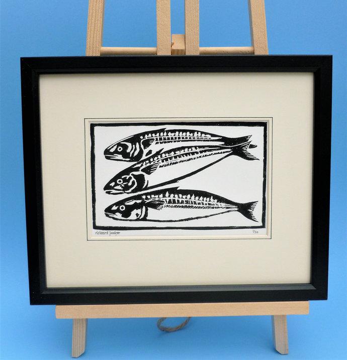 Mackerel. Nature inspired limited edition linocut print