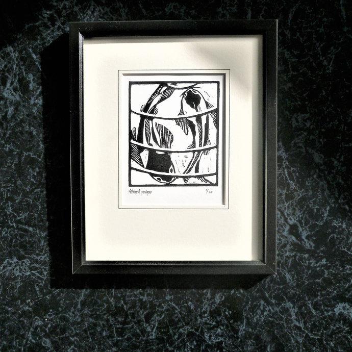 Koi Carp. Nature inspired limited edition linocut print