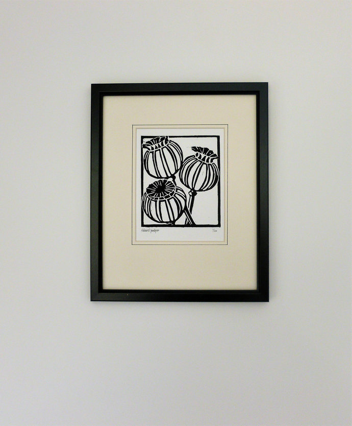 Poppy Seed Heads. Nature inspired limited edition linocut print