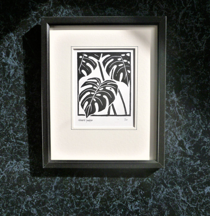 Swiss Cheese Plant. Nature inspired limited edition linocut print