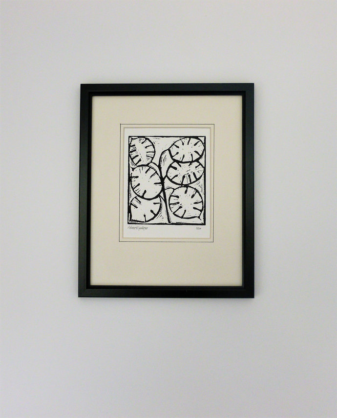 Honesty. Nature inspired limited edition linocut print