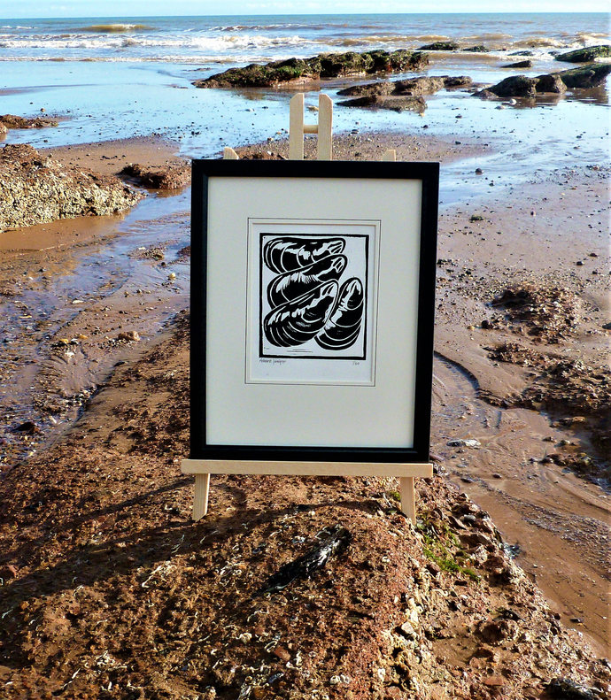 Mussels. Seaside inspired limited edition linocut print