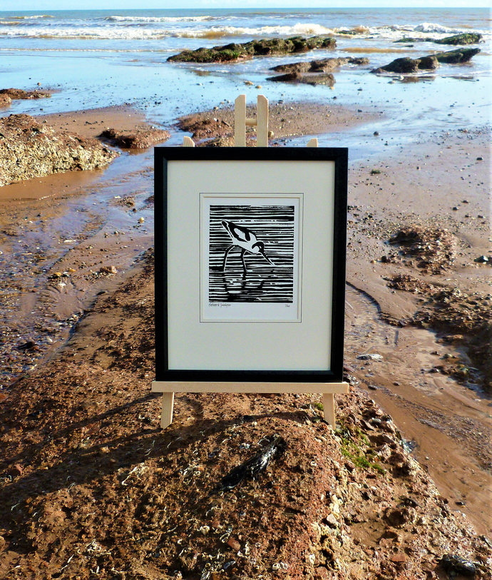 Avocet. Seaside inspired limited edition linocut print