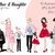 Watercolour fashion illustration clipart - Mother & Daughter - Light Skin