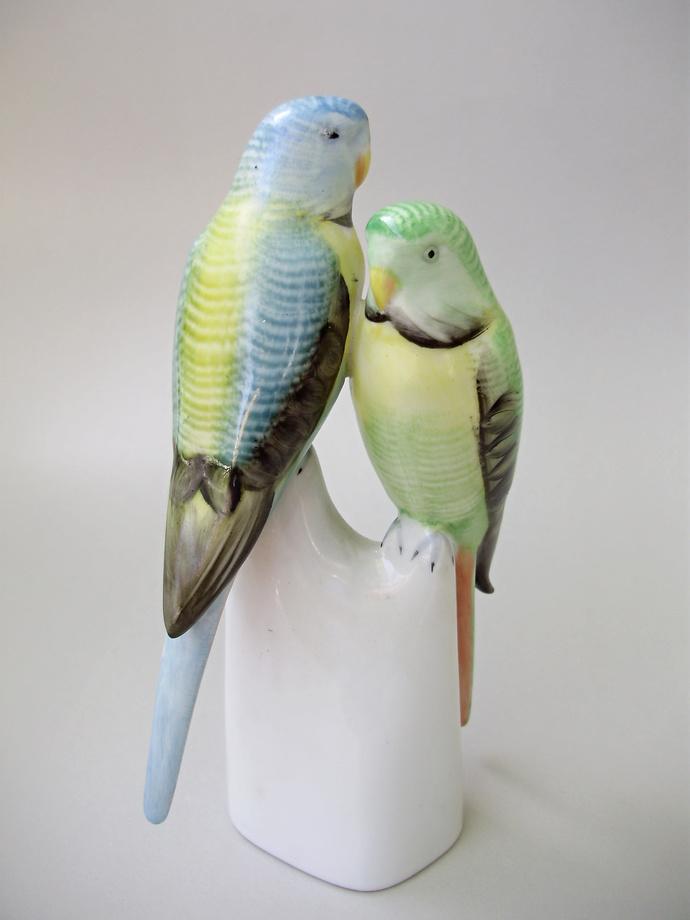 Vintage Hungarian Hollohaza  porcelain  bird figurine,parrot cople ,hand painted