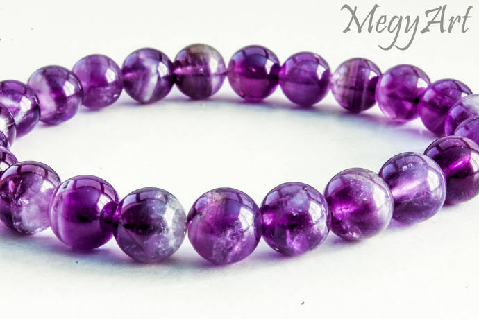 Amethyst Bracelet, Protection Stone Gemstone Bracelet Womens Bracelet Mala Bead