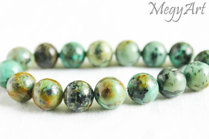 10mm African Turquoise Bracelet Wrist Mala Beads Chakra Jewelry Healing Crystals