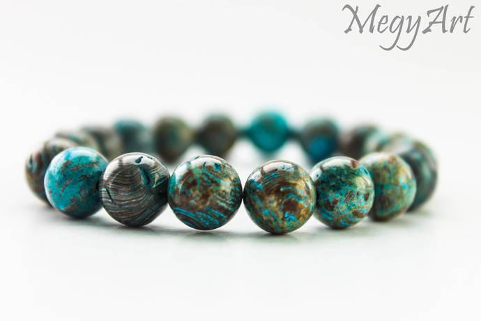 10mm Blue and Brown Agate Bracelet - Agate Bracelet, Mens Beaded Bracelet,