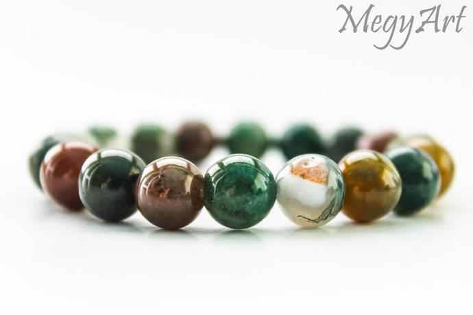 Indian Agate Bracelet, Mala Beads Bracelet, Indian Agate Mala Bracelet,