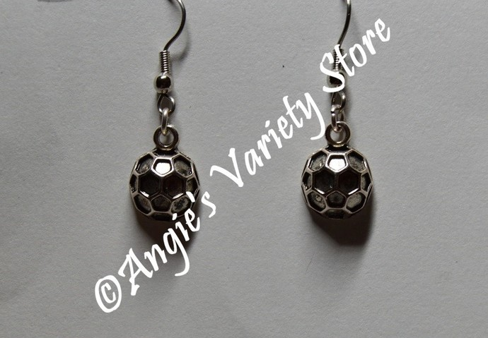 Silver Soccer Ball Earrings