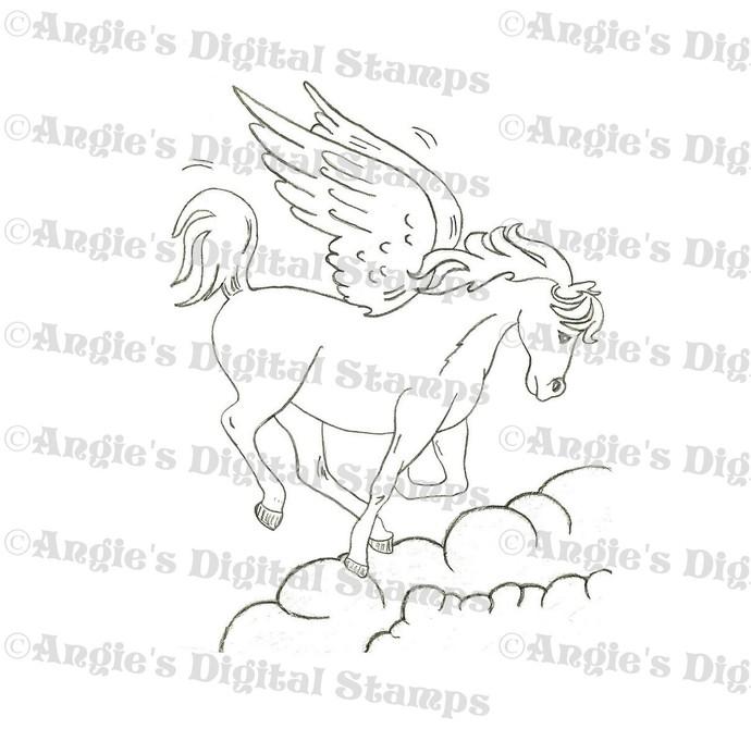 Pegasus In Clouds Digital Stamp