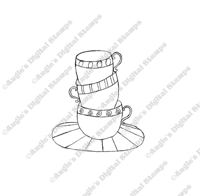 A Stack of Teacups Digital Stamp