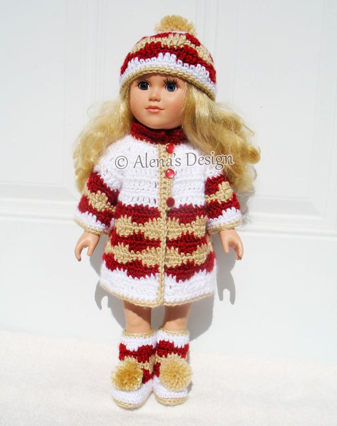 Crochet Pattern 3 PC Set for 18 in Doll American Doll Crochet Patterns 18 inch