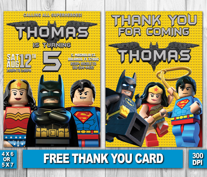 Lego Birthday Invitation Lego Batman by ZANAPRINTABLE on Zibbet