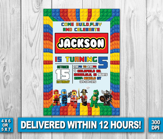 lego invitation lego birthday lego invite by zanaprintable on zibbet
