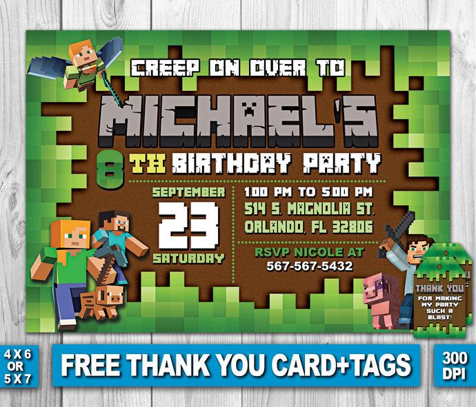 Minecraft birthday invitation video game by zanaprintable on zibbet minecraft birthday invitation video game birthday invitation minecraft filmwisefo Gallery