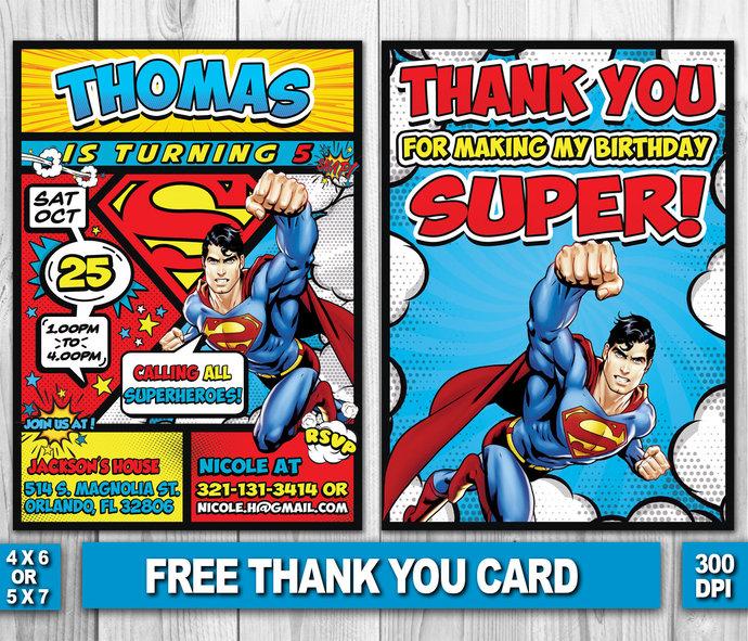 Superman Birthday Invitation Superman Thank by ZANAPRINTABLE on