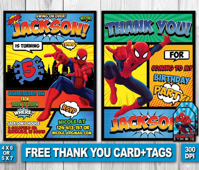 Spiderman invitation spiderman birthday by zanaprintable on zibbet spiderman invitation spiderman birthday invitation spiderman thank you tags stopboris