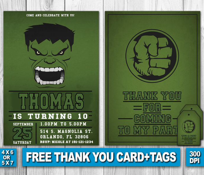 Hulk Invitation Birthday Party Invite