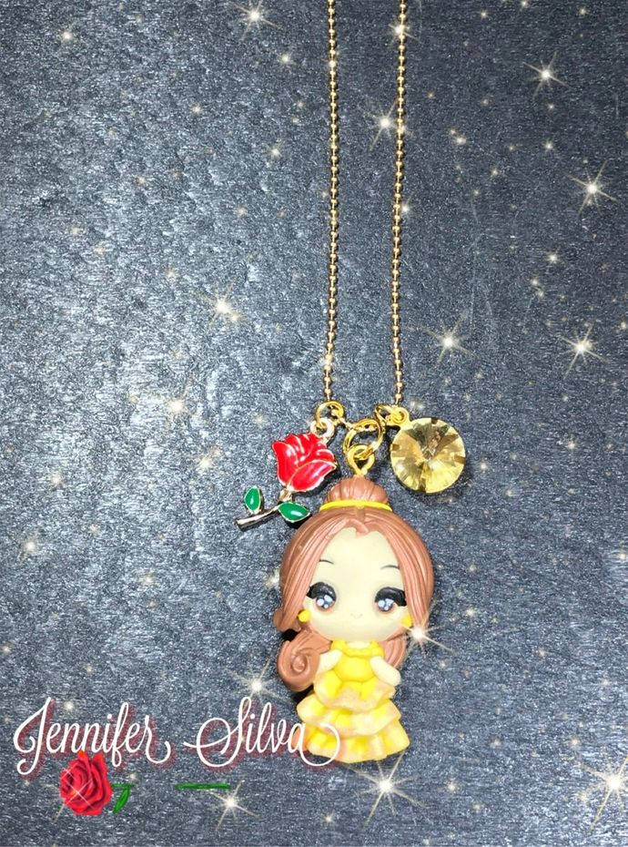 LIMITED:Princess Belle Clay Charm Necklace