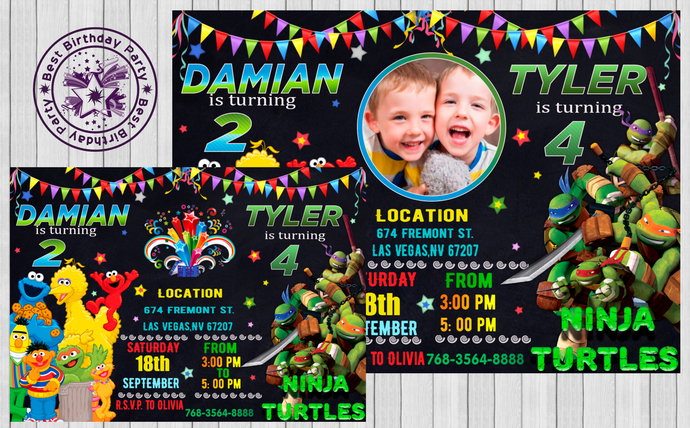 Sibling birthday invitation double by bestbirthdayparty on zibbet sibling birthday invitation double birthday invitation twin birthday filmwisefo