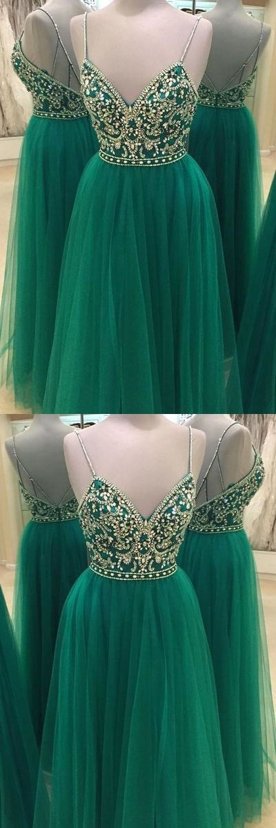 Green Beaded Prom Dress,Backless Tulle Prom Dress,Custom Made Evening