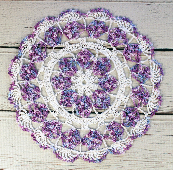 Crocheted White Lavender Blue Violet Variegated Table Topper Doily - 10 1/2""