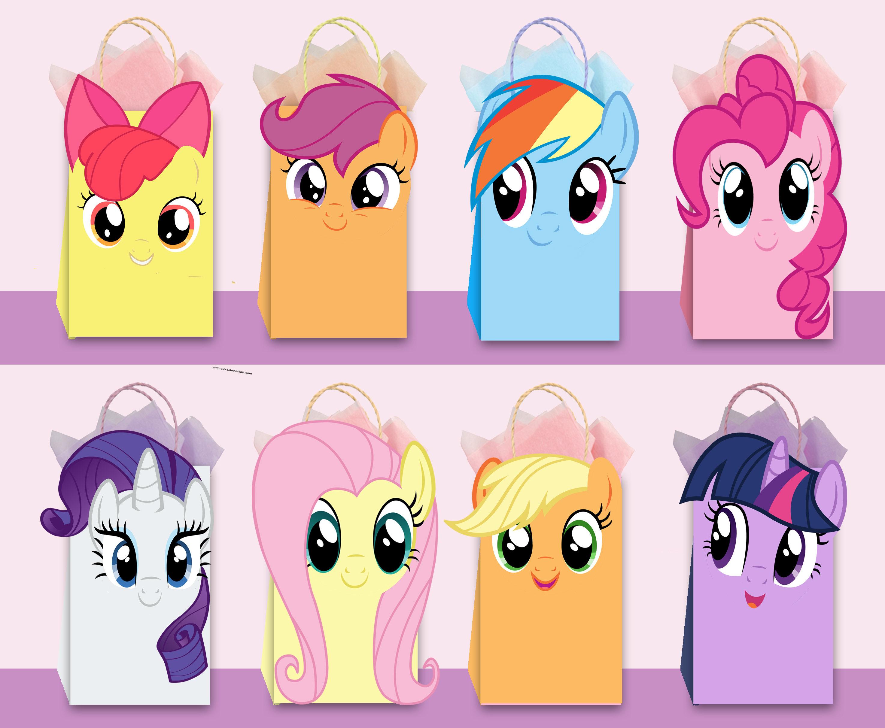 My Little Pony Diy Favor Bag Template My By Ahlamdesigner On Zibbet