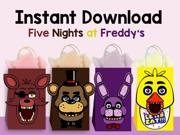 Five Nights At Freddys DIY Favor Bag Template Party