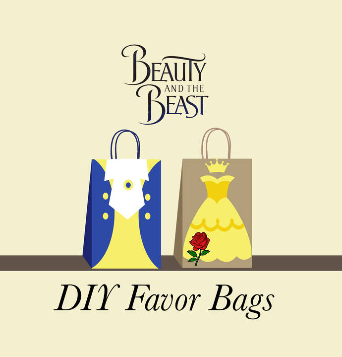 Beauty and the Beast Favor Bags, Beauty and the Beast Birthday Party Bags, Belle