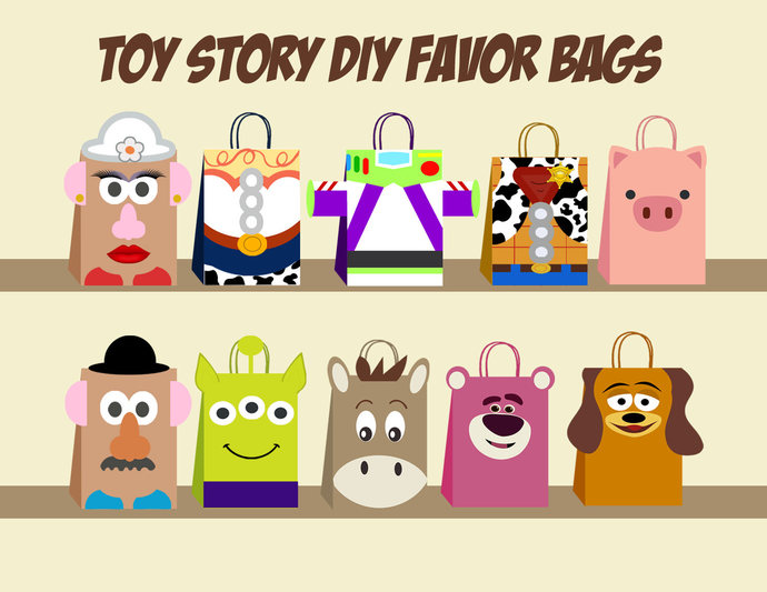 Toy story DIY Favor Bag Template, Toy story Party Bags Printable, Toy story DIY