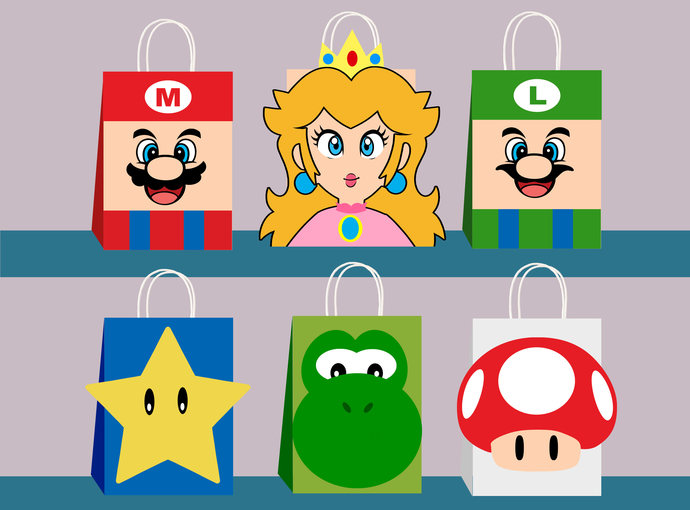 Super Mario Diy Favor Bag Template Super By Ahlamdesigner On Zibbet