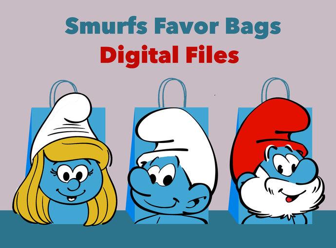 Smurfs DIY Favor Bag Template, Smurfs Party Bags Printable, Smurfs DIY Gift Bag,