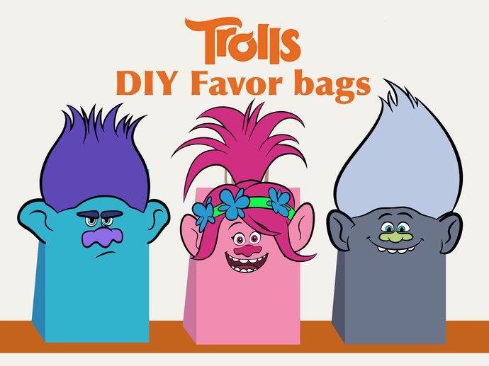 Trolls Birthday Favor Bags, Trolls Gift Bags, Trolls Party, Trolls Poppy,  Party